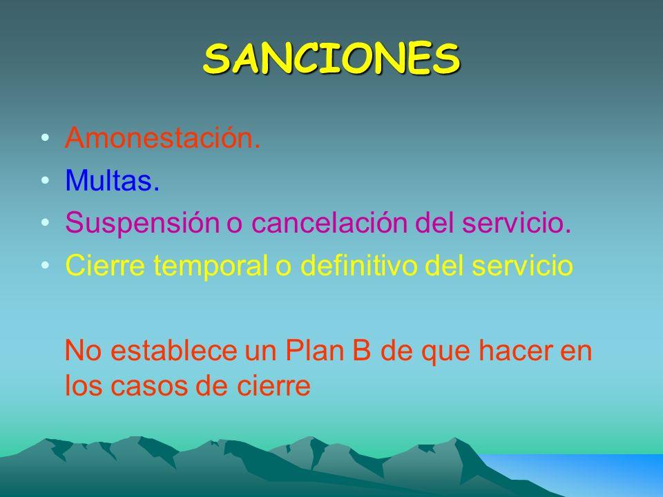 SANCIONES Amonestación. Multas. Suspensión o cancelación del servicio.