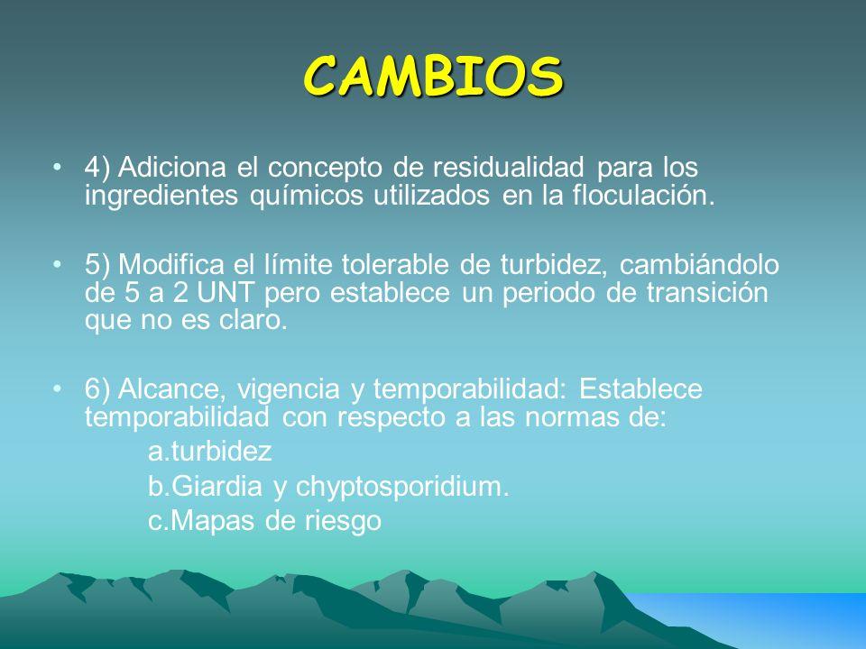 CAMBIOS 4) Adiciona el concepto de residualidad para los ingredientes químicos utilizados en la floculación.