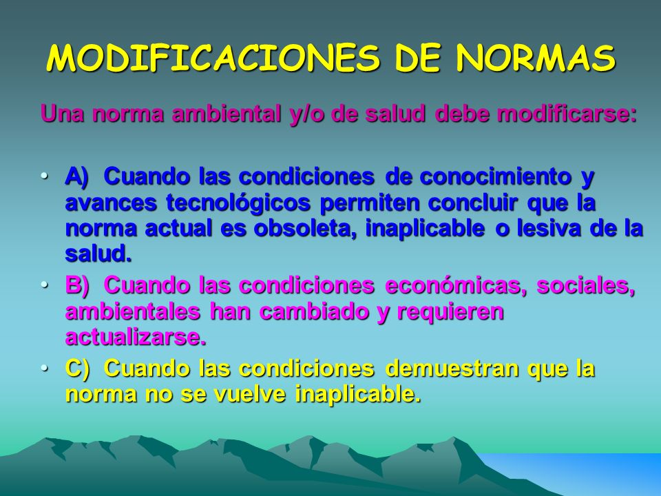 MODIFICACIONES DE NORMAS
