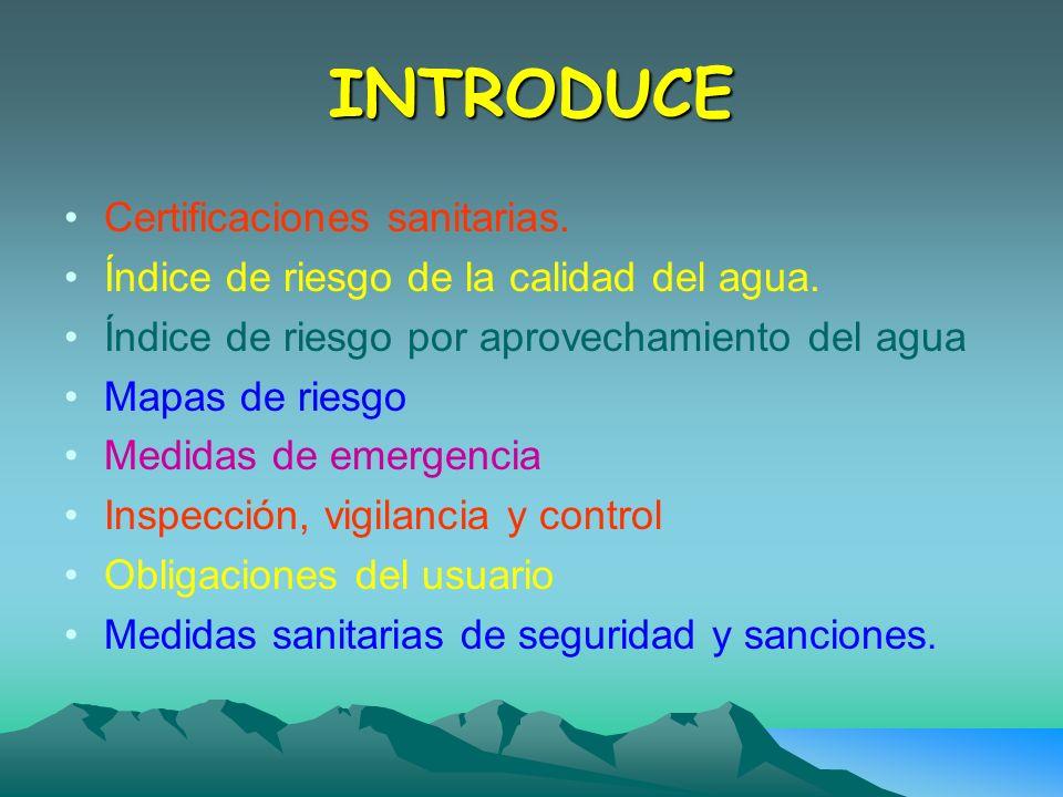 INTRODUCE Certificaciones sanitarias.