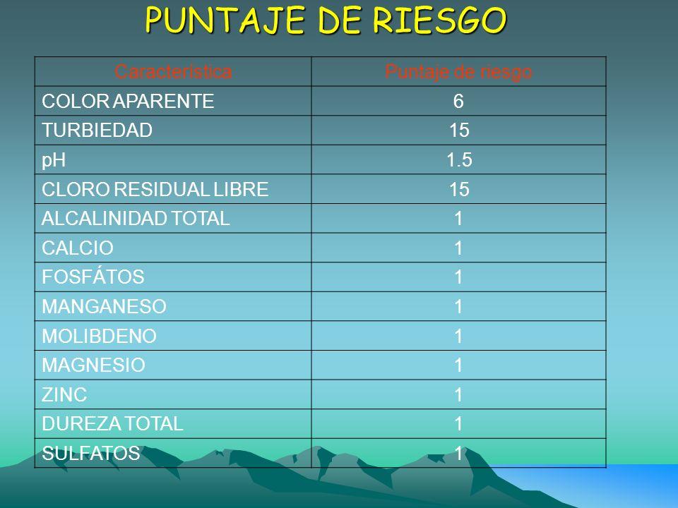 PUNTAJE DE RIESGO Característica Puntaje de riesgo COLOR APARENTE 6