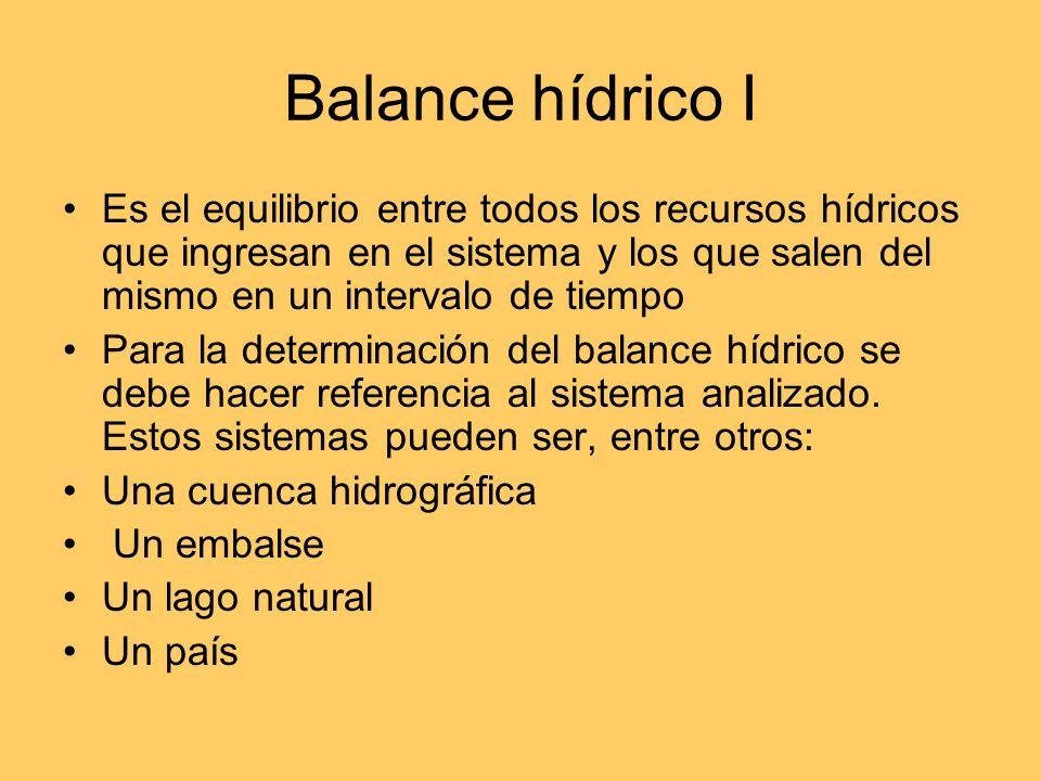 Balance hídrico I Es el equilibrio entre todos los recursos hídricos que ingresan en el sistema y los que salen del mismo en un intervalo de tiempo.