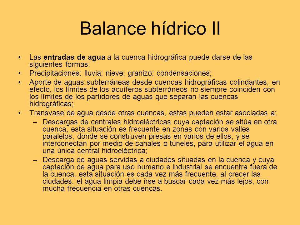 Balance hídrico II Las entradas de agua a la cuenca hidrográfica puede darse de las siguientes formas: