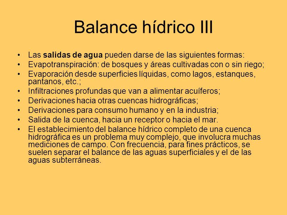 Balance hídrico III Las salidas de agua pueden darse de las siguientes formas: Evapotranspiración: de bosques y áreas cultivadas con o sin riego;
