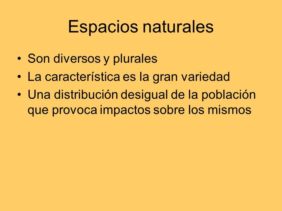 Espacios naturales Son diversos y plurales