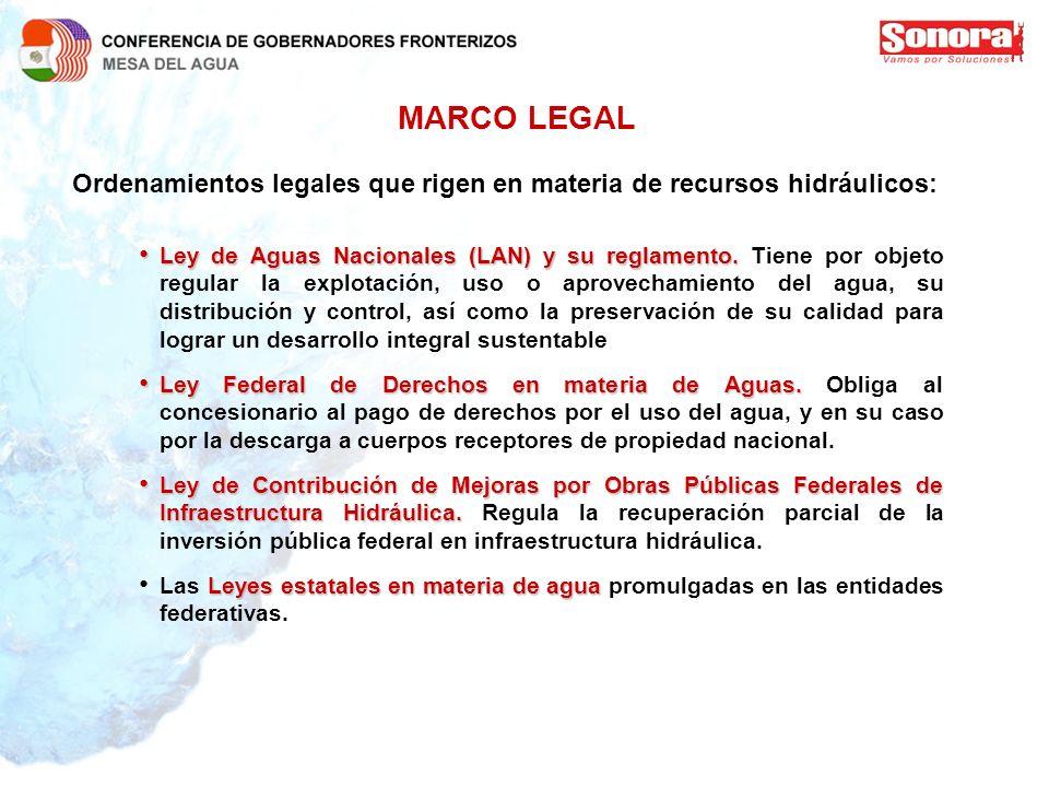 MARCO LEGAL Ordenamientos legales que rigen en materia de recursos hidráulicos:
