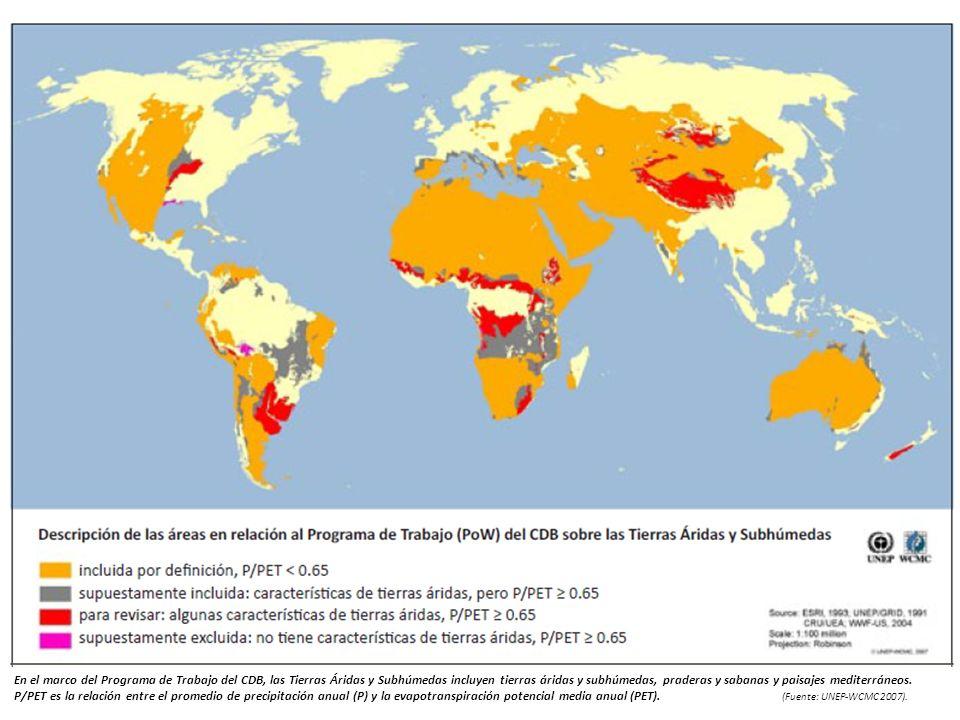En el marco del Programa de Trabajo del CDB, las Tierras Áridas y Subhúmedas incluyen tierras áridas y subhúmedas, praderas y sabanas y paisajes mediterráneos. P/PET es la relación entre el promedio de precipitación anual (P) y la evapotranspiración potencial media anual (PET). (Fuente: UNEP-WCMC 2007).