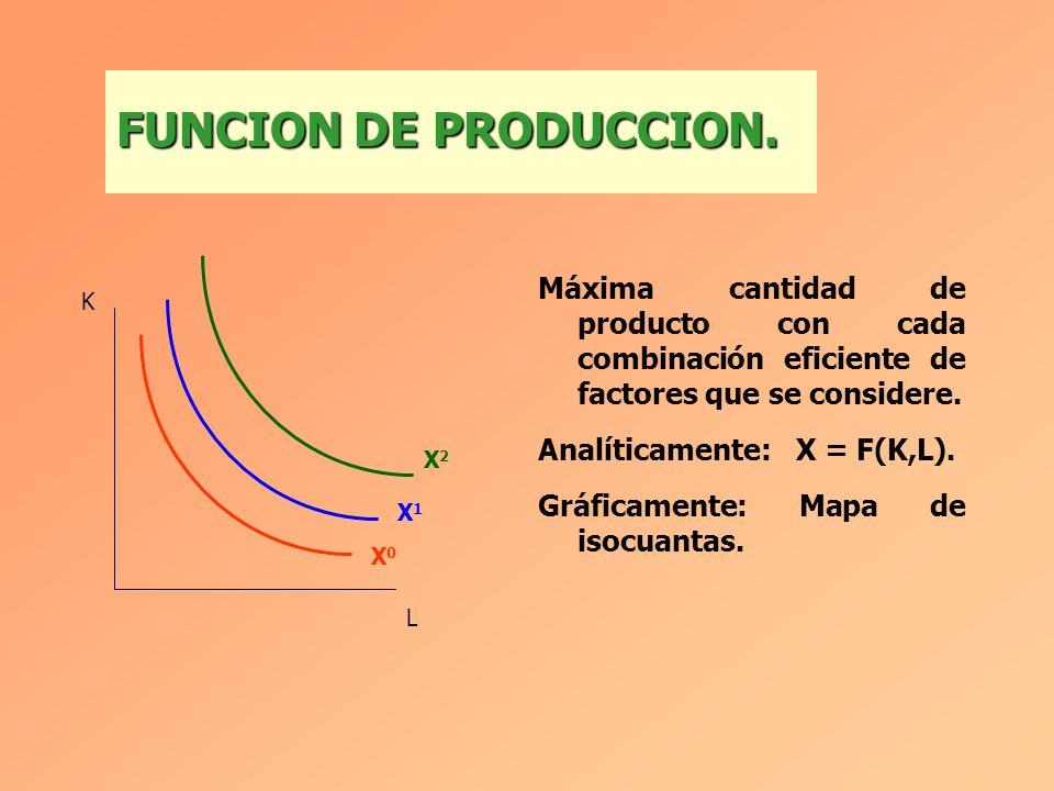 FUNCION DE PRODUCCION. Máxima cantidad de producto con cada combinación eficiente de factores que se considere.