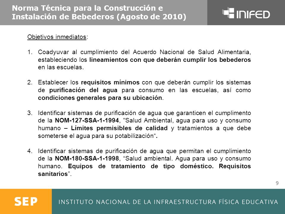 Norma Técnica para la Construcción e Instalación de Bebederos (Agosto de 2010)