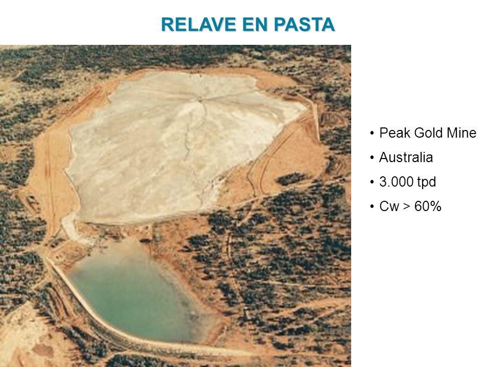RELAVE EN PASTA Peak Gold Mine Australia 3.000 tpd Cw > 60%