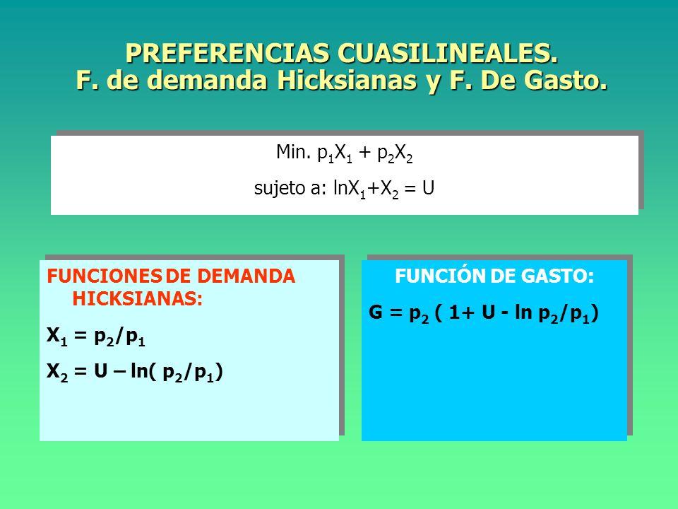 PREFERENCIAS CUASILINEALES. F. de demanda Hicksianas y F. De Gasto.