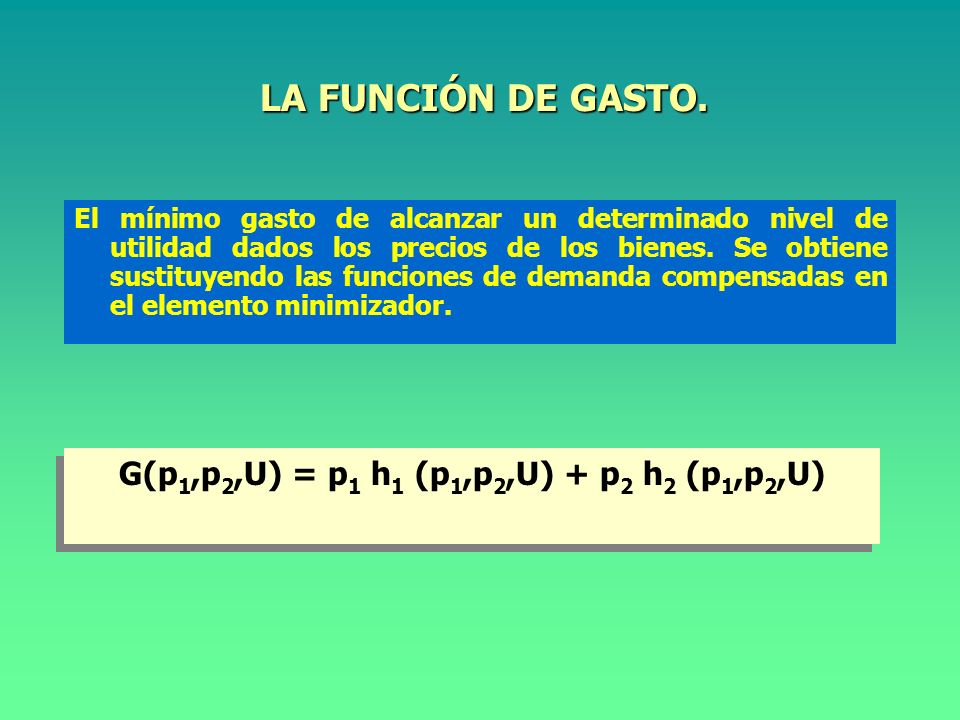 G(p1,p2,U) = p1 h1 (p1,p2,U) + p2 h2 (p1,p2,U)