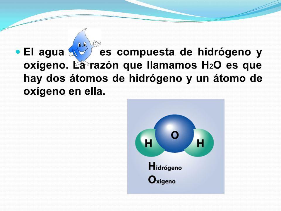 El agua es compuesta de hidrógeno y oxígeno