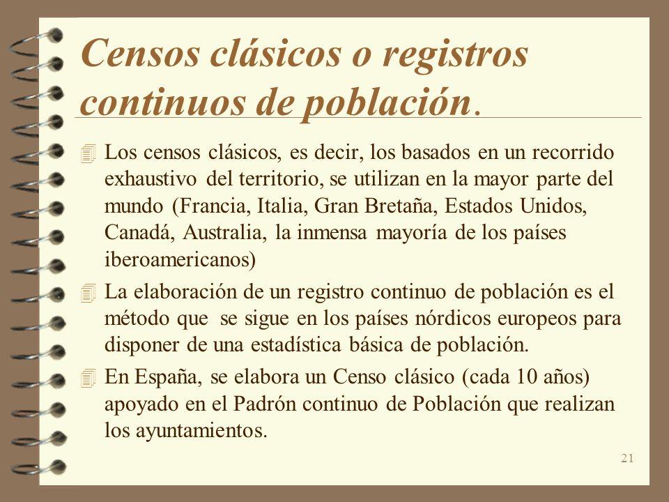 Censos clásicos o registros continuos de población.