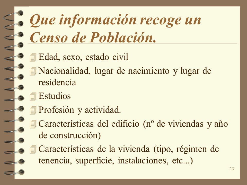 Que información recoge un Censo de Población.