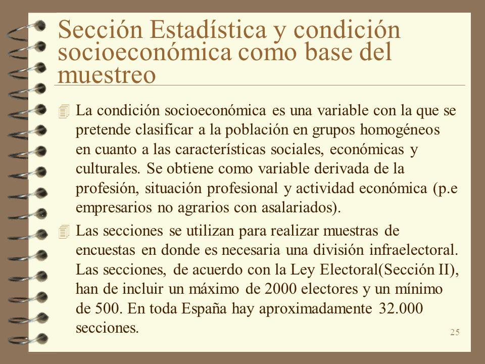 Sección Estadística y condición socioeconómica como base del muestreo