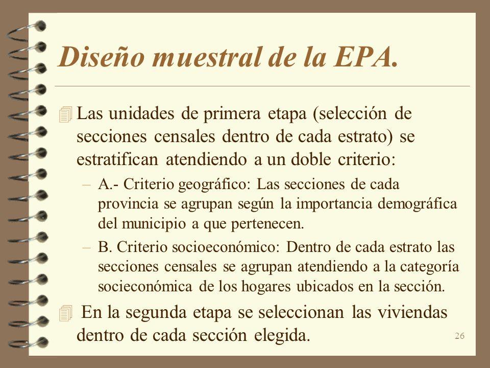 Diseño muestral de la EPA.