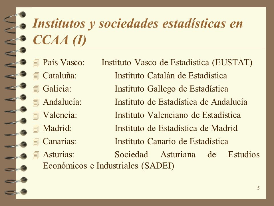 Institutos y sociedades estadísticas en CCAA (I)