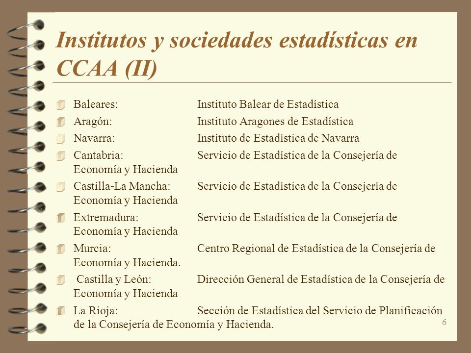 Institutos y sociedades estadísticas en CCAA (II)