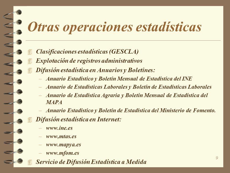 Otras operaciones estadísticas
