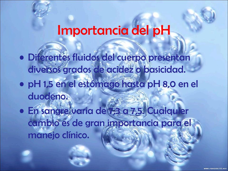 Importancia del pH Diferentes fluidos del cuerpo presentan diversos grados de acidez o basicidad. pH 1,5 en el estómago hasta pH 8,0 en el duodeno.