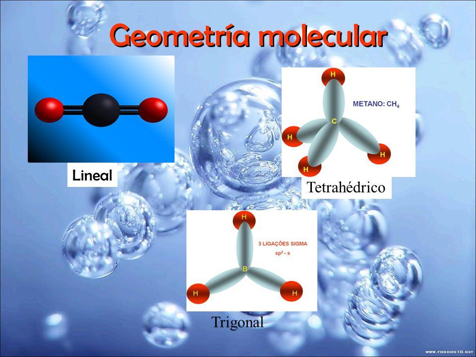 Geometría molecular Lineal Tetrahédrico Trigonal