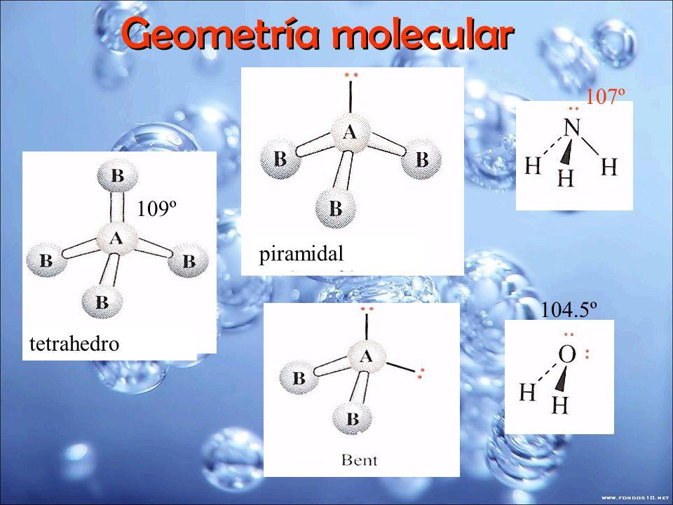 Geometría molecular 107º 109º piramidal 104.5º tetrahedro