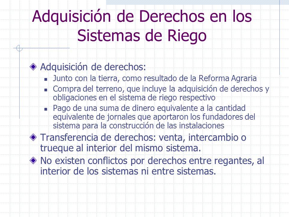 Adquisición de Derechos en los Sistemas de Riego