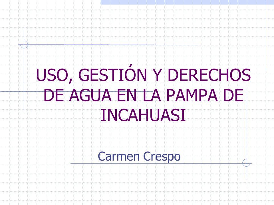 USO, GESTIÓN Y DERECHOS DE AGUA EN LA PAMPA DE INCAHUASI