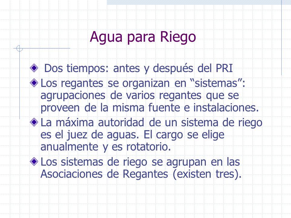Agua para Riego Dos tiempos: antes y después del PRI
