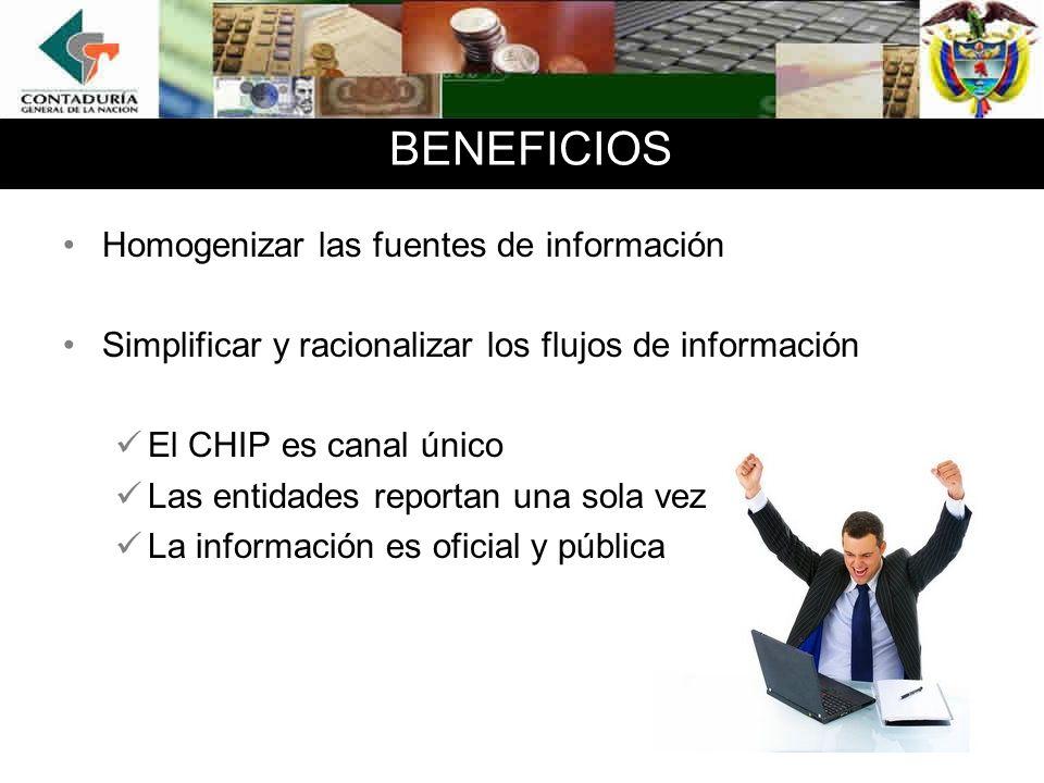 BENEFICIOS Homogenizar las fuentes de información
