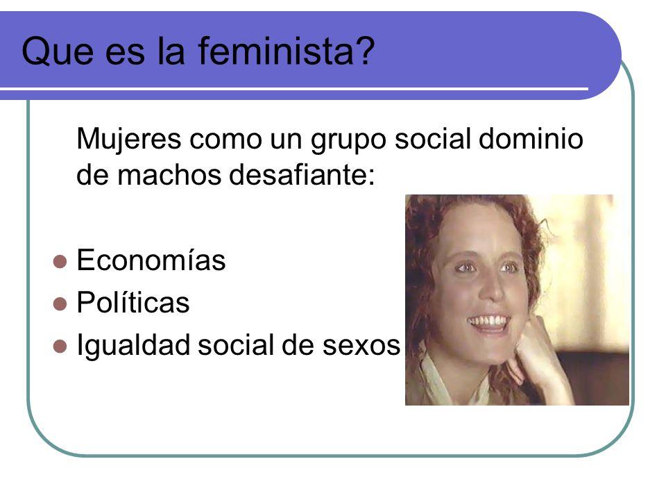 Que es la feminista Mujeres como un grupo social dominio de machos desafiante: Economías. Políticas.