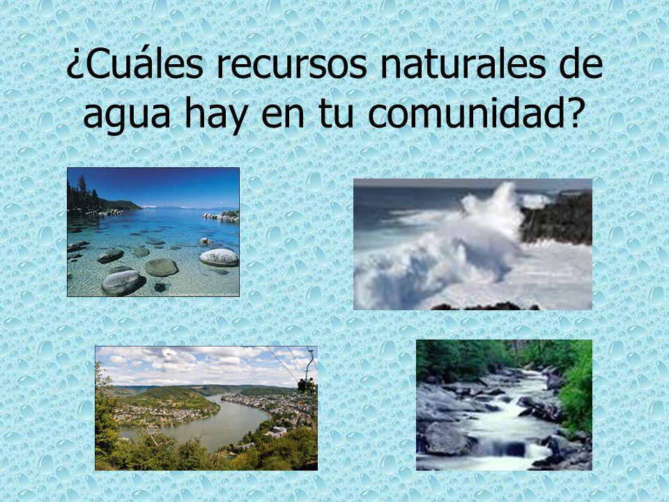 ¿Cuáles recursos naturales de agua hay en tu comunidad