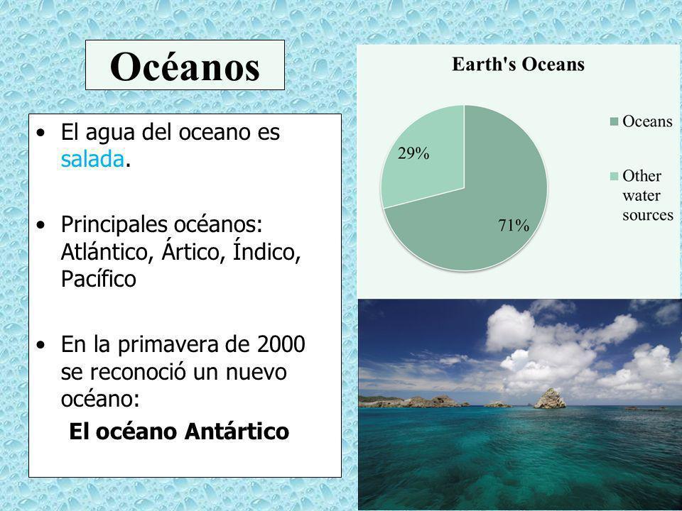 Océanos El agua del oceano es salada.