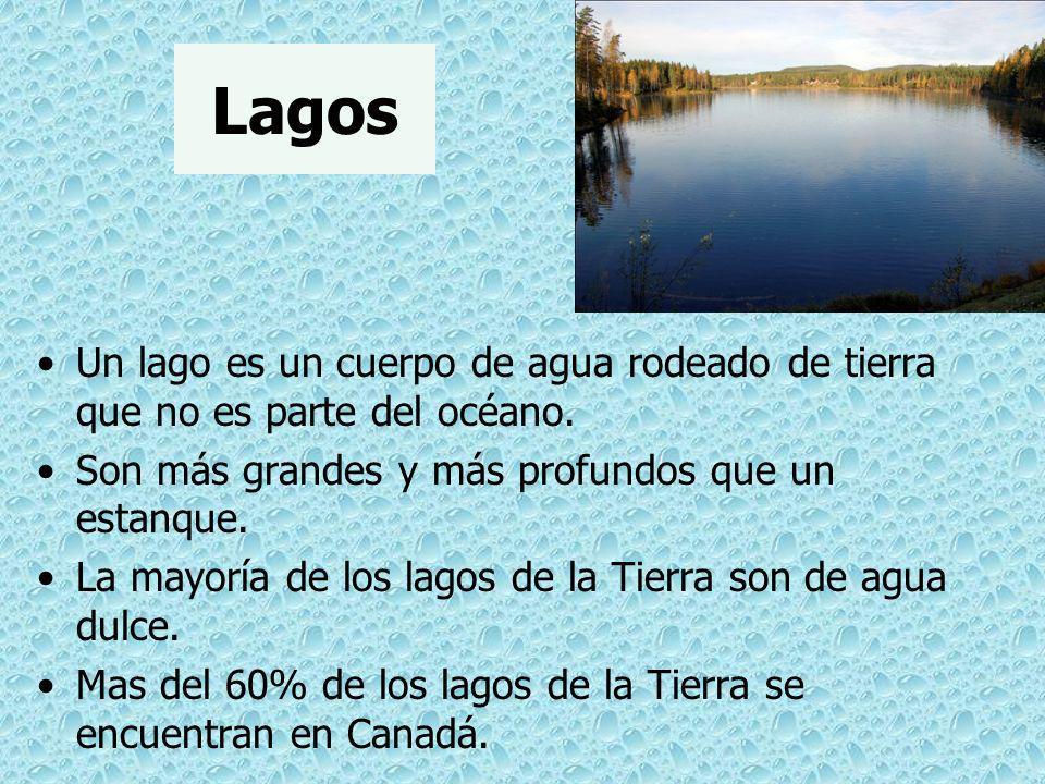 Lagos Un lago es un cuerpo de agua rodeado de tierra que no es parte del océano. Son más grandes y más profundos que un estanque.