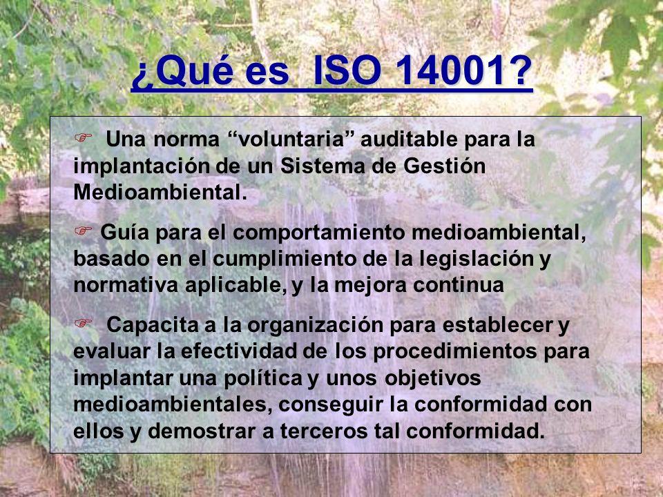 ¿Qué es ISO 14001 Una norma voluntaria auditable para la implantación de un Sistema de Gestión Medioambiental.