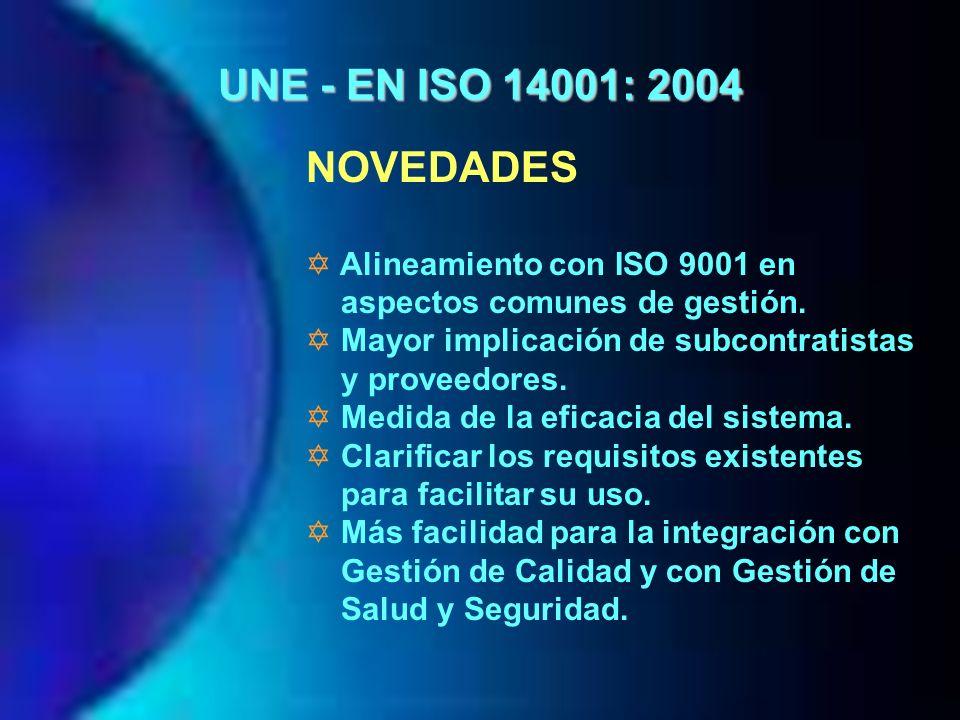 UNE - EN ISO 14001: 2004 NOVEDADES Alineamiento con ISO 9001 en