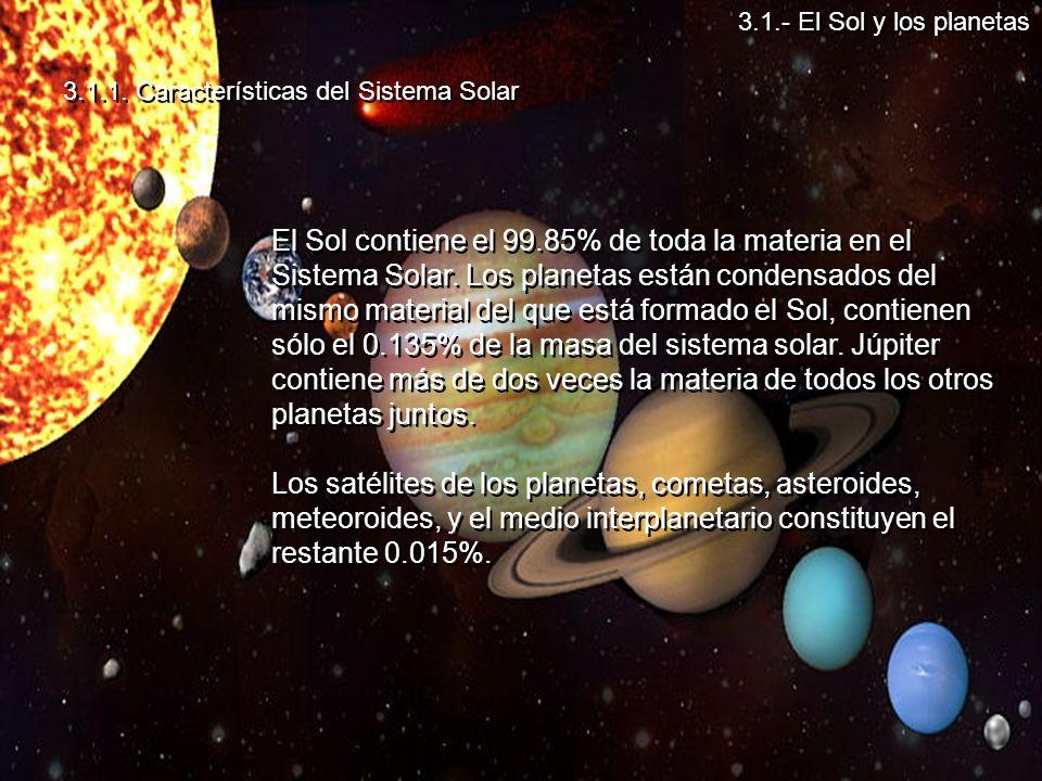 3.1.- El Sol y los planetas 3.1.1. Características del Sistema Solar.