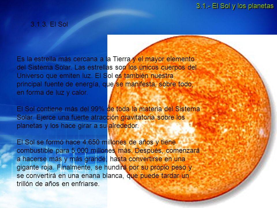 3.1.- El Sol y los planetas 3.1.3. El Sol.