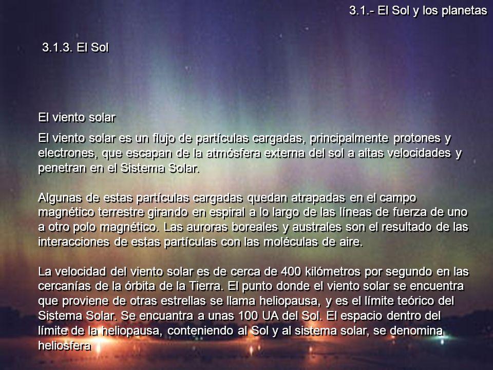 3.1.- El Sol y los planetas 3.1.3. El Sol. El viento solar.