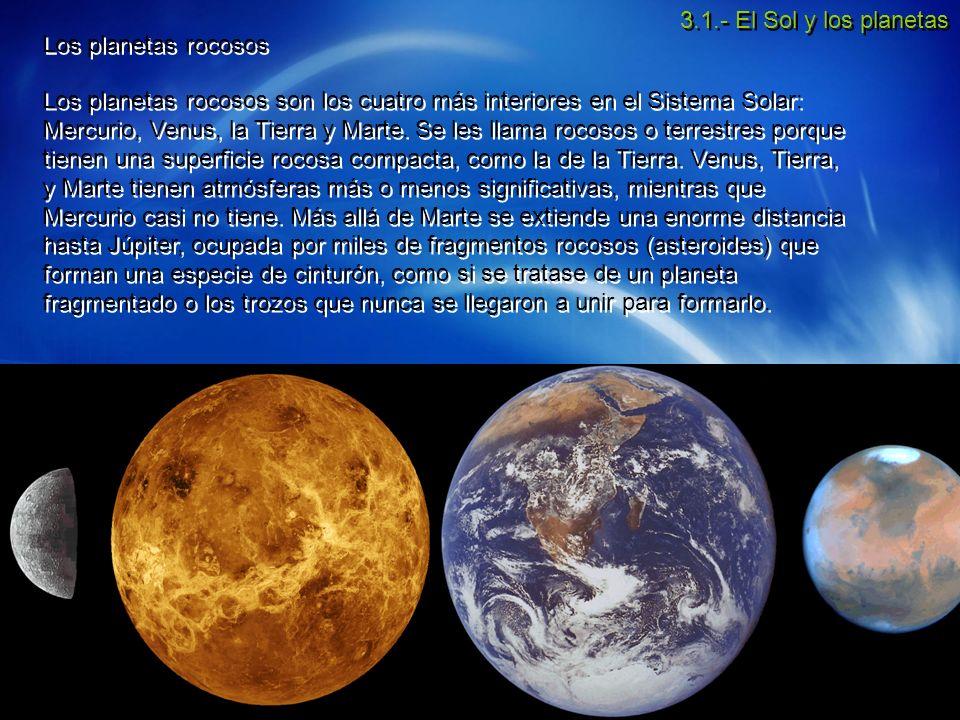 3.1.- El Sol y los planetas Los planetas rocosos.