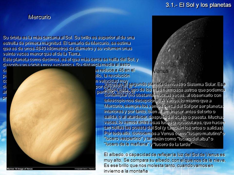3.1.- El Sol y los planetas Mercurio Venus