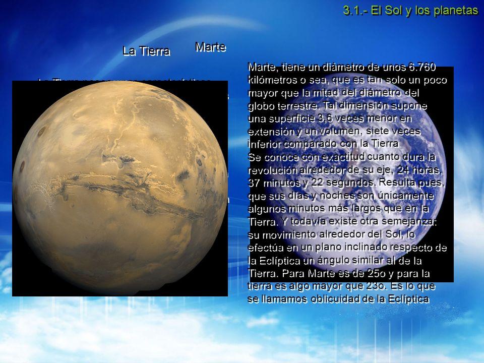 3.1.- El Sol y los planetas Marte La Tierra