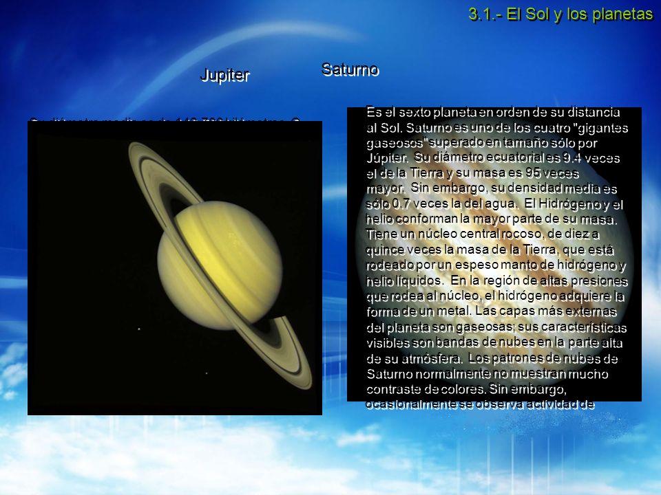 3.1.- El Sol y los planetas Saturno Jupiter