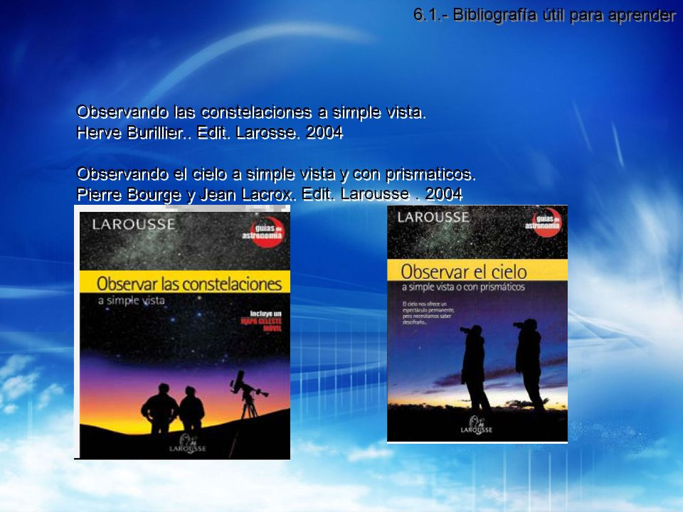 6.1.- Bibliografía útil para aprender
