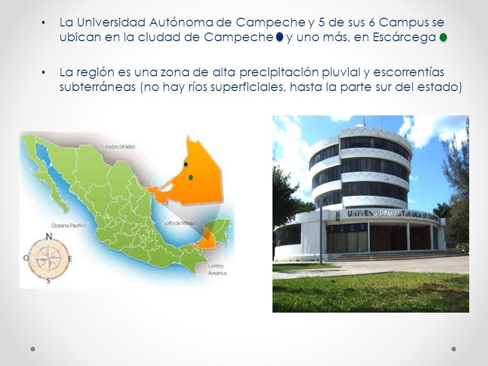 La Universidad Autónoma de Campeche y 5 de sus 6 Campus se ubican en la ciudad de Campeche y uno más, en Escárcega