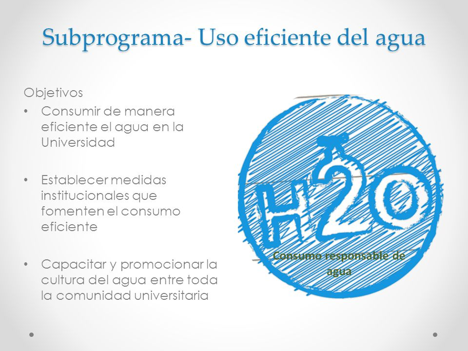 Subprograma- Uso eficiente del agua