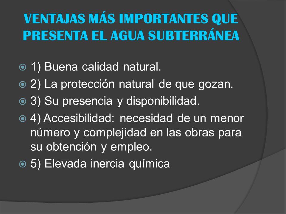 VENTAJAS MÁS IMPORTANTES QUE PRESENTA EL AGUA SUBTERRÁNEA