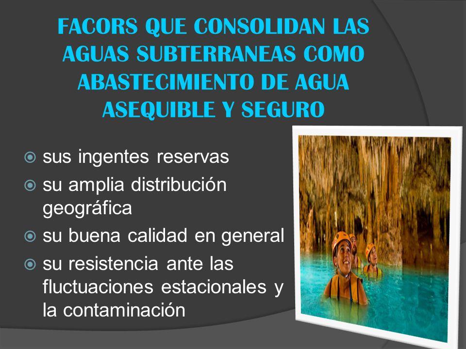 FACORS QUE CONSOLIDAN LAS AGUAS SUBTERRANEAS COMO ABASTECIMIENTO DE AGUA ASEQUIBLE Y SEGURO