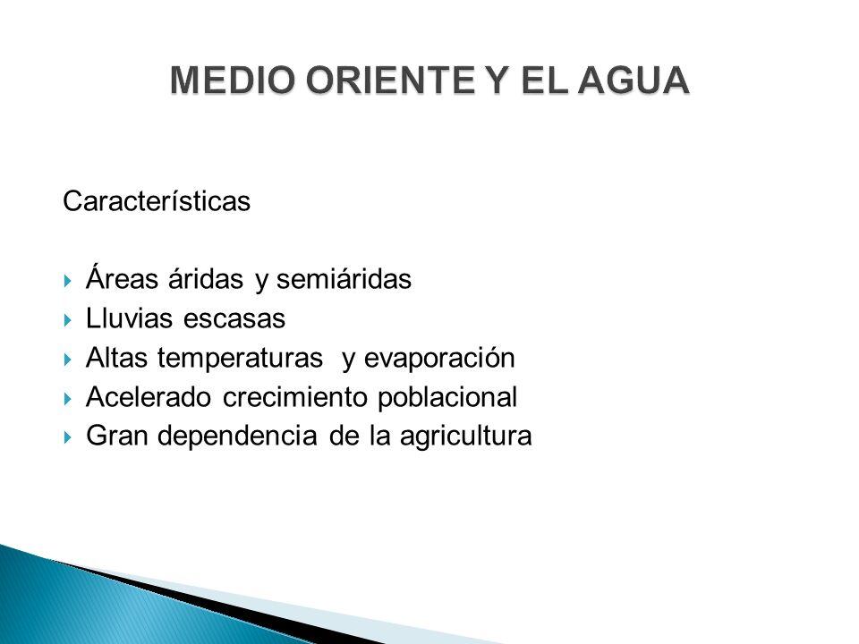 MEDIO ORIENTE Y EL AGUA Características Áreas áridas y semiáridas